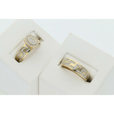 14 Karat Gold & Diamond Oval Maze Wedding Duo Set Ring