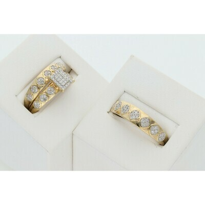 10 Karat Gold & Diamond Rhombus Square Wedding Trio Set Rings
