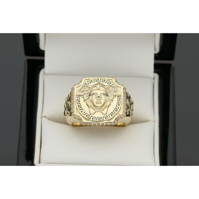 14 Karat Gold & Zirconium Maze Lion Medusa Ring