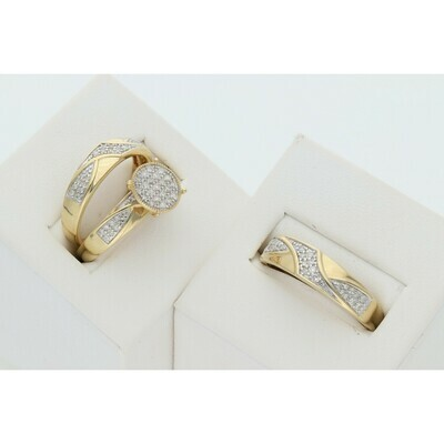 14 Karat Gold & Diamond Circle Uneven Abstract Wedding Trio Set Rings