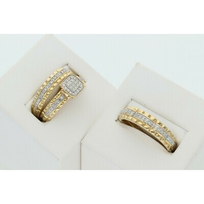 14 Karat Gold & Diamond Square Textured Line Wedding Trio Set Rings