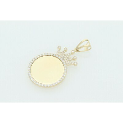 10 Karat Gold & Zirconium Crown Photo Charm