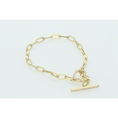 14 Karat Gold & Zirconium Heart Line Clip Bracelet