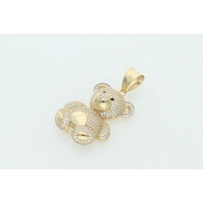 14 Karat Gold & Zirconium Fancy Teddy Bear Charm