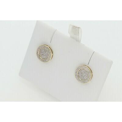 10 Karat Gold 7 0.50 Ctw Diamond Double Circle Fancy Earrings ~ SC0381Y