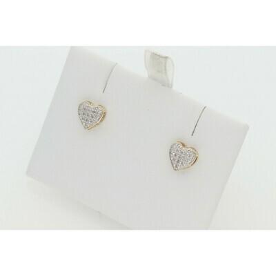 10 Karat Gold & 0.05 Ctw Diamond Heart Dome Earrings ~ SC4813Y