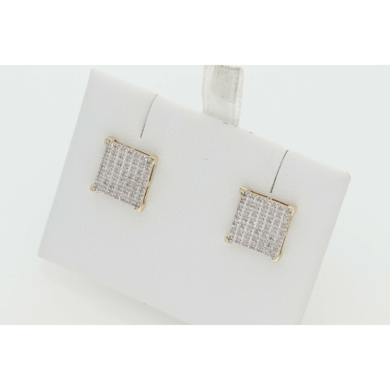 10 Karat Gold & Diamond Illusion Set V-Prong S Square Earrings
