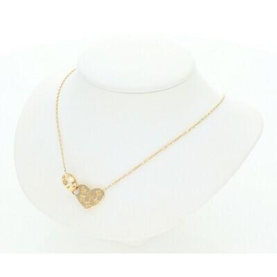 14 Karat Gold Fancy Heart Band Rollo Necklace