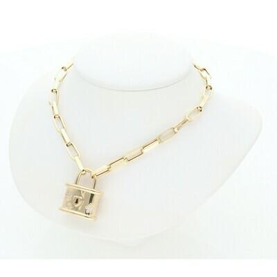 14 Karat Gold & Zirconium Flower Lock Big Clip Necklace