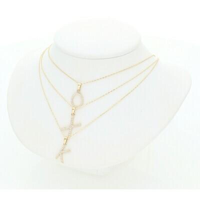 14 Karat Gold & Zirconium Tiny Letter + Rollo Necklace