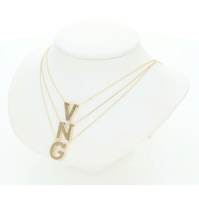 14 Karat Gold Fancy Rollo Chain + Letter