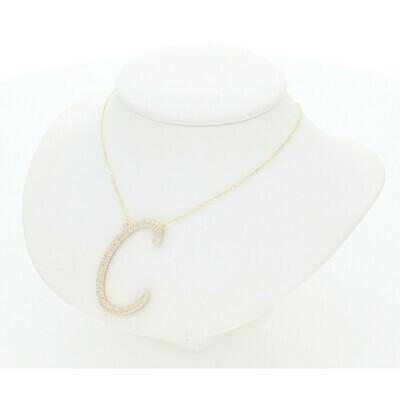 14 Karat Gold & Zirconium Black White Letter + Rollo Necklace