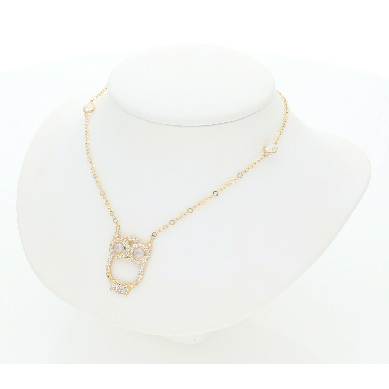 14 Karat Gold & Zirconium Owl Rollo Necklace