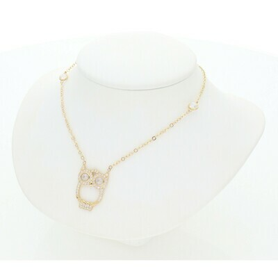 14 Karat Gold & Zirconium Owl Rollo Necklace