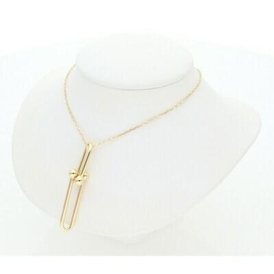 14 Karat Gold Clip Style Pendant Rollo Necklace