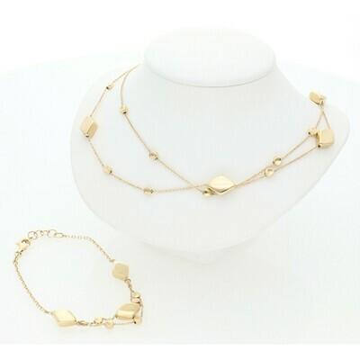 14 Karat Gold Diamond Shape Set Rollo Necklace & Bracelet