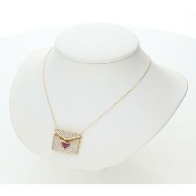 14 Karat Gold & Zirconium Envelope Charm Rollo Necklace