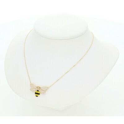 14 Karat Gold & Zirconium Bee Rollo Chain