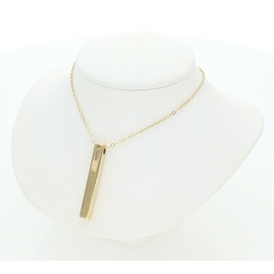 14 Karat Gold Fancy Bar Charm Rollo Necklace