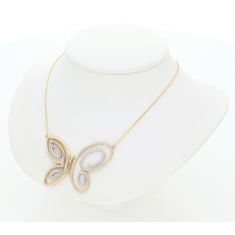 14 karat Gold & Zirconium Butterfly Charm Fancy Rollo Chain
