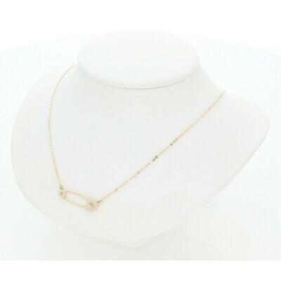 14 Karat Gold & Zirconium Pin Rollo Necklace