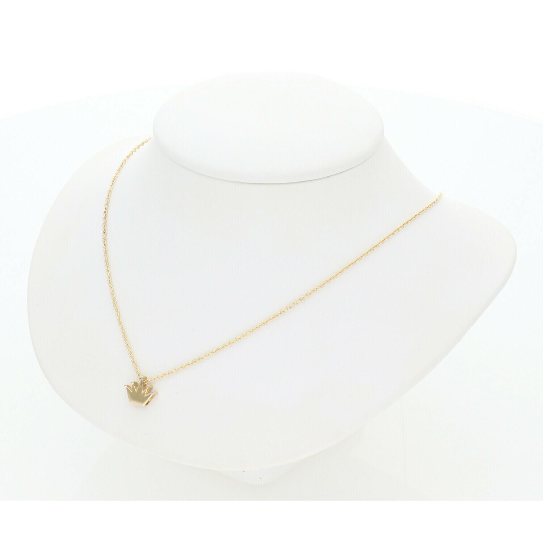 14 Karat Gold & Zirconium Fancy Crown Rollo Necklace