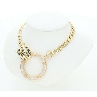 14 Karat Gold & Zirconium Fancy Hoop Panther Miami Cuban Link Necklace