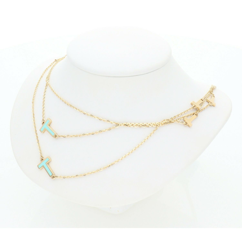 14 Karat Solid Gold Rollo Fancy T Necklace