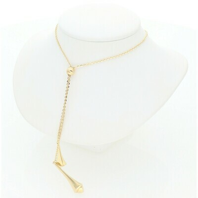 14 Karat Solid Gold Two Pendants Rollo Necklace