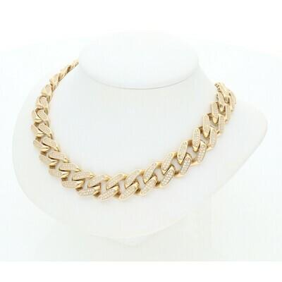 14 Karat Gold & Cz Cuban link Monaco Chain 12.5mm x 18