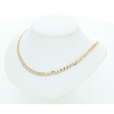 10 Karat Gold Italian Curb Pavé chain