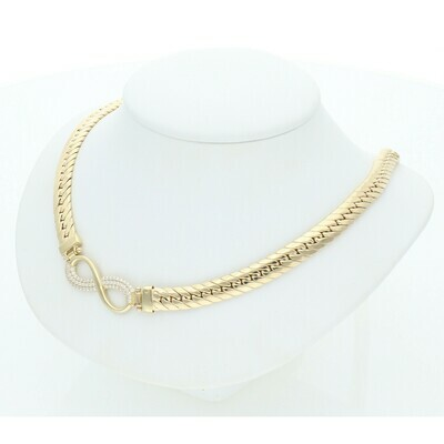 10 Karat Gold & Cz Infinite Symbol Italian Miami Cuban Link Chain 6.3mm x 18