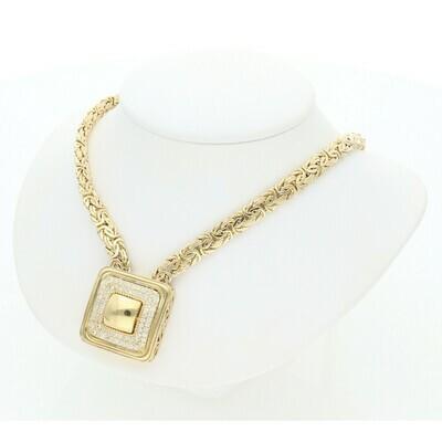 10 karat Gold & Cz Square charm Byzantine Necklace 6.1 mm x 16