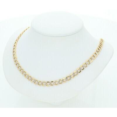 10 Karat Solid Gold Pavé Italian Curb Chain