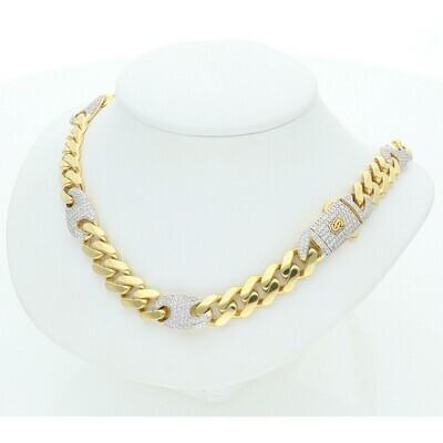 10 Karat Gold & Zirconium Puff Cuban Link Monaco Chain