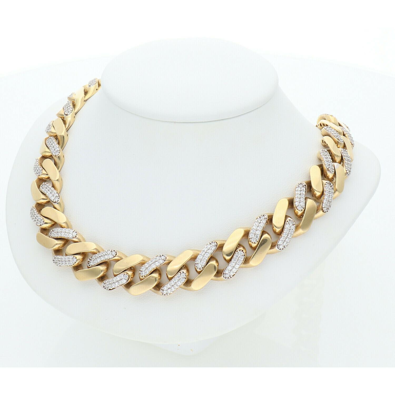 10 Karat Gold & Zirconium Cuban Link Monaco Chain