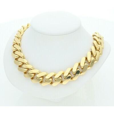 10 Karat Gold Cuban Link Monaco Chain 15 Millimeters