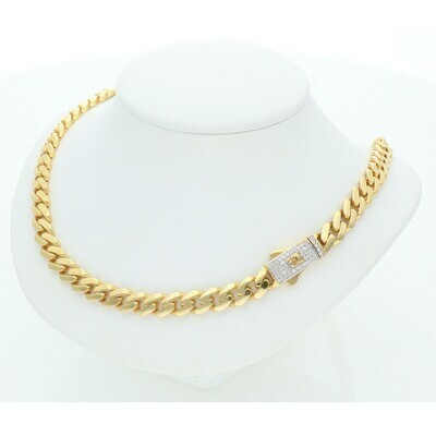 10 Karat Gold & Zirconium Box Lock Cuban Link Monaco Chain