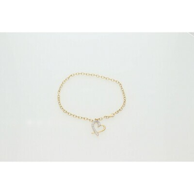14 Karat Gold Two Tone Textured Heart Rollo Anklet