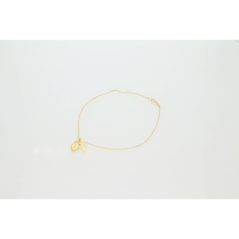 10 Karat Gold Heart Lock Key Rollo Anklet