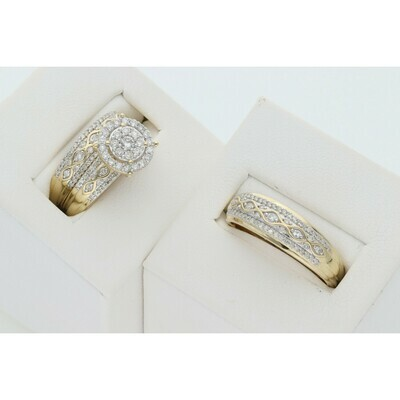 14 Karat Gold & Diamond Eye Lines Circle Wedding Trio Set Ring