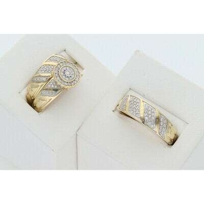 14 Karat Gold & Diamond Uneven Rectangle circle Wedding Trio Set Ring