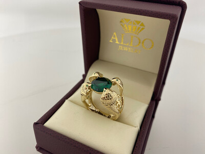14 Karat Gold & Zirconium Green Gem Four Cobra Ring