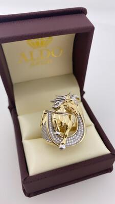 14 Karat Gold & Zirconium Two Tone horse Ring