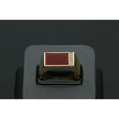 14 Karat Gold & Zirconium Carnelian Stone Ring