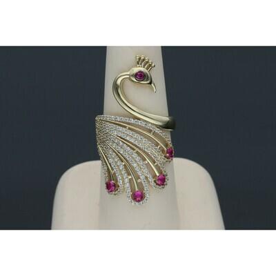 10 Karat Gold & Zirconium Pink Peacock Ring