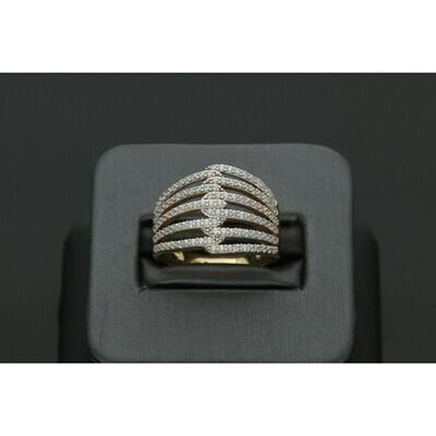 14 Karat Gold & Zirconium Crisscrossed Ring