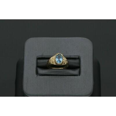 14 Karat Gold & Zirconium Light Blue Oval Girl Ring