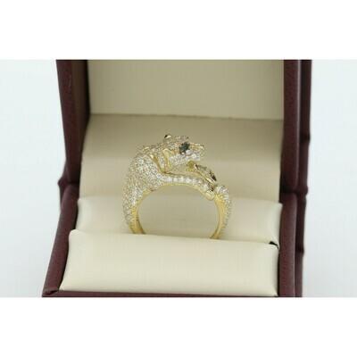 10 Karat Gold & Zirconium Panther Ring
