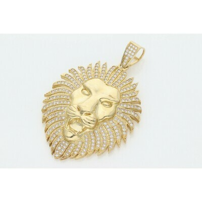 10 Karat Gold & Zirconium Lion Face Charm